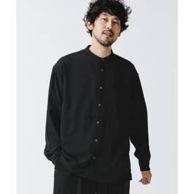 トロミタッチバンドカラーワイドシャツ ブラック