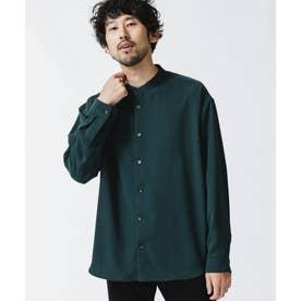 トロミタッチバンドカラーワイドシャツ D.グリーン1