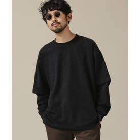スラブレイヤードスリーブTシャツ ブラック