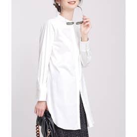 スタンドカラーロングシャツ ホワイト