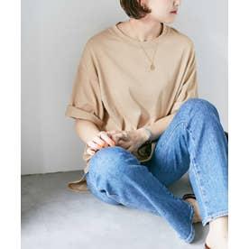 WEB限定/ラウンドヘムビッグTシャツ ライトベージュ1