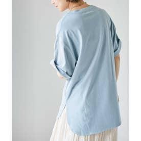 WEB限定/ラウンドヘムビッグTシャツ L.ブルー1