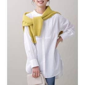 ピンタックロングシャツ オフホワイト1