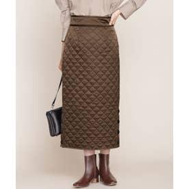 キルティングスカート ブラウン