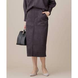 カットスエードタイトスカート D.グレー2