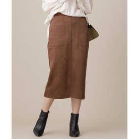 カットスエードタイトスカート L.ブラウン1