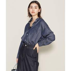 サークルデニム オーバーサイズシャツ 長袖 ブルー