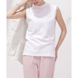 Anti Soaked 汗染み防止 モックTシャツ ノースリーブ ホワイト