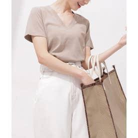 Anti Soaked 汗染み防止 VネックTシャツ 半袖 グレージュ3