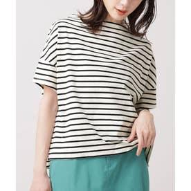 WEB限定/ボーダーワイドドロップTシャツ 半袖 オフホワイト1