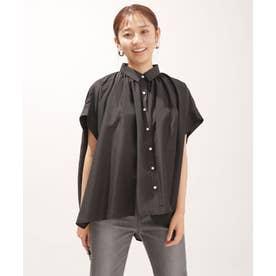 WEB限定/ギャザーオーバーシャツブラウス 半袖 ブラック