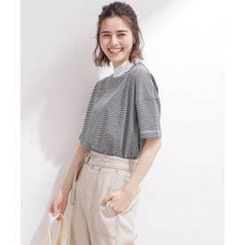 ボーダーモックネックTシャツ 五分袖 パターン21