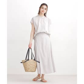 WEB限定/ロングシャツ×フレアスカート セットアップ L.グレー1