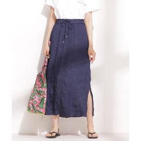 楊柳プリーツIラインスカート ネイビー
