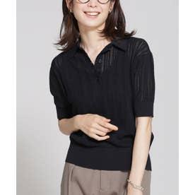 透かし編みポロニットプルオーバー 半袖 ブラック