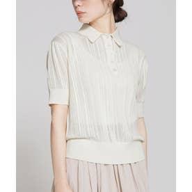 透かし編みポロニットプルオーバー 半袖 ホワイト