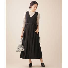 WEB限定/プリーツジャンパースカート ノースリーブ ブラック
