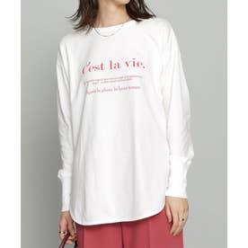 ラウンドヘムプリントTシャツ 長袖 ホワイト