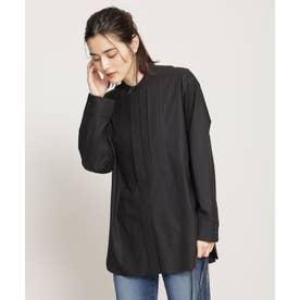 WEB限定/ピンタックコットンシャツ 長袖 ブラック