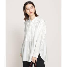 WEB限定/ピンタックコットンシャツ 長袖 ホワイト