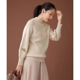 スリーブ刺繍ニット 長袖 オフホワイト1