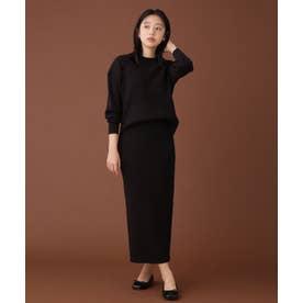 WEB限定/リブニットスカートセットアップ 長袖 ブラック