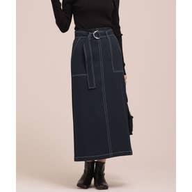 WEB限定/配色ステッチベルト付きスカート D.ネイビー1