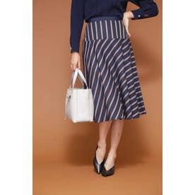 ◆[WEB限定商品]サテンストライプフレアースカート ネイビー