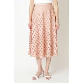 ◆チュールチェック刺繍スカート ピンク