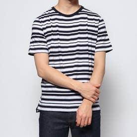 ナノ ユニバース アウトレット マルチボーダーTシャツ S/S (ネイビー)