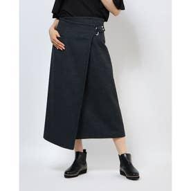ナノ ユニバース アウトレット ツイードラップスカート (ブルー)