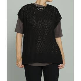すかし編みニットベスト+Tシャツセット ブラック