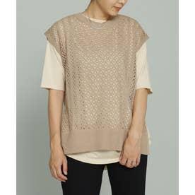 すかし編みニットベスト+Tシャツセット ベージュ