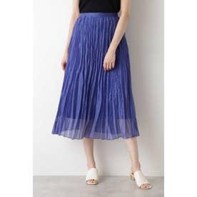 [洗える]ランダムプリーツスカート ブルー