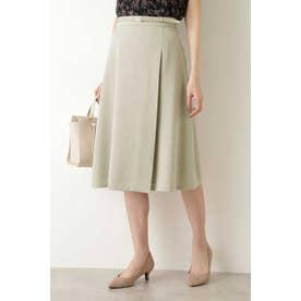 [洗える]ベルト付き巻き風スカート ベージュ