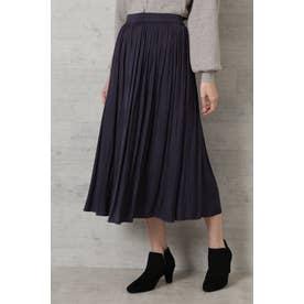 割繊サテンギャザースカート ネイビー