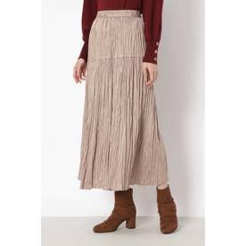 [洗える]サテンプリーツスカート ブラウン