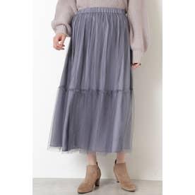 [2way]チュール×サテンリバーシブルスカート ブルー