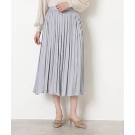 [洗える]ダブルサテンギャザースカート ブルーグレー