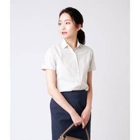 ストライプ半袖シャツ(スーツインナー対応) (ホワイト)