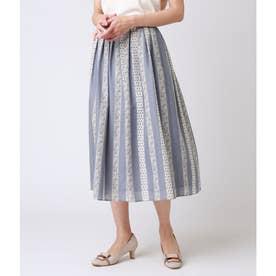 小紋柄ストライププリント タックギャザースカート (サックス)