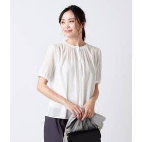 綿シフォン ギャザー5分袖ブラウス (ホワイト)