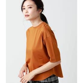コットントリアセテート 秋色5分袖Tシャツ (イエローオーカー)