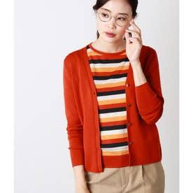 【Days Knit】総針Vネックニットカーディガン (オレンジ)