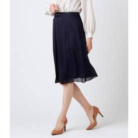 チェーンモノグラムプリント ビット使いスカート (ネイビー)