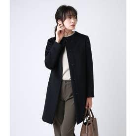 My Dearest Coat/アンゴラ混シャンブレーカルゼ ノーカラーコート (ネイビー)