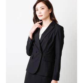 【ウォッシャブル】モヘヤ混 ダブルデザインジャケット (ブラック)