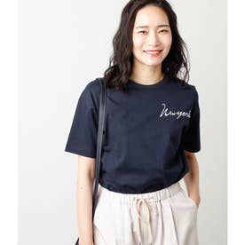 天竺ロゴプリントTシャツ (ネイビー)