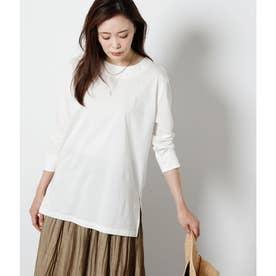 高密度コットン混天竺 ロングTシャツ (ホワイト)