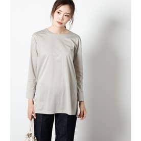 高密度コットン混天竺 ロングTシャツ (ライトグレー)